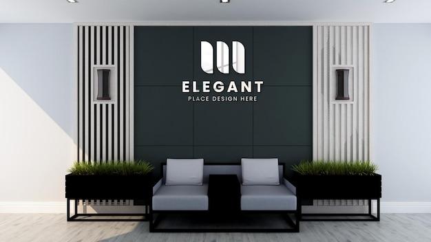 Modernes büro lobby warteraum wand logo modell