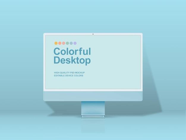 Modernes desktop-computermodell mit bearbeitbaren farben