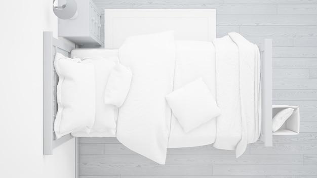 Modernes einzelbettmodell im hellen schlafzimmer auf draufsicht