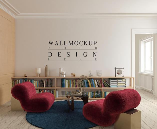 Modernes elegantes wohnzimmer mit rotem armlosem stuhl und modellwand