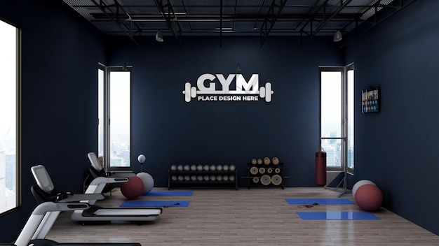 Modernes fitness-studio-innenwand-logo-modell
