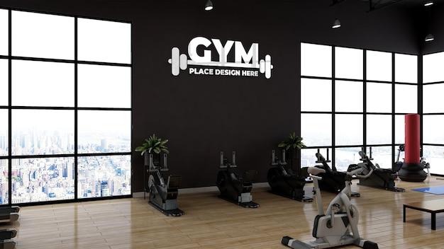 Modernes fitness-studio oder fitness-raum-wand-sport-logo-mockup für branding