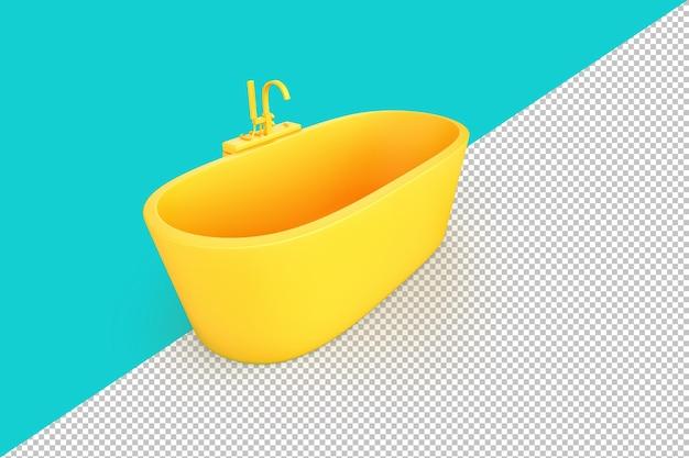 Modernes gelbes bad auf aquamarinem hintergrund. 3d-rendering