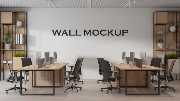 Modernes innenarchitektur-bürowandmodell premium psd