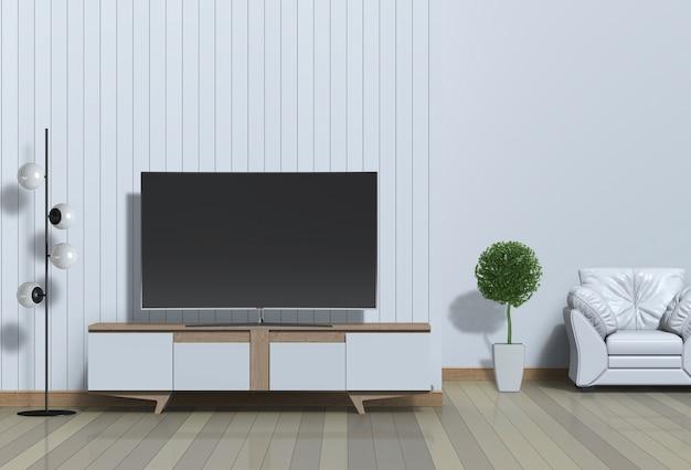 Modernes innenwohnzimmer mit intelligentem fernsehen, kabinett und lehnsessel 3d übertragen