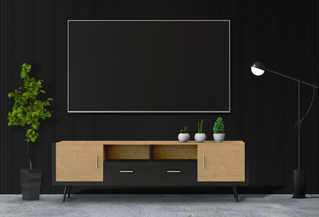 Modernes innenwohnzimmer mit intelligentem fernsehen