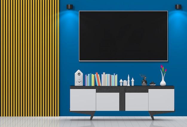 Modernes innenwohnzimmer mit smart tv, kabinett.