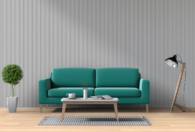 Modernes innenwohnzimmer mit sofa, anlage, lampe, 3d übertragen