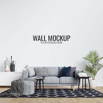 Modernes innenwohnzimmer-wandmodell mit möbeln und dekor