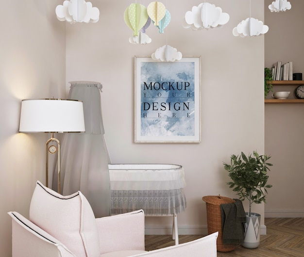 Modernes klassisches babyschlafzimmer mit modellplakat