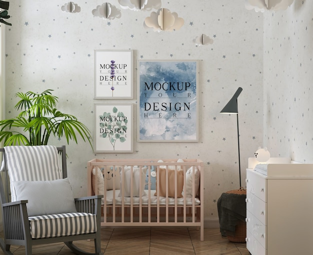 Modernes klassisches babyschlafzimmer mit plakatrahmenmodell