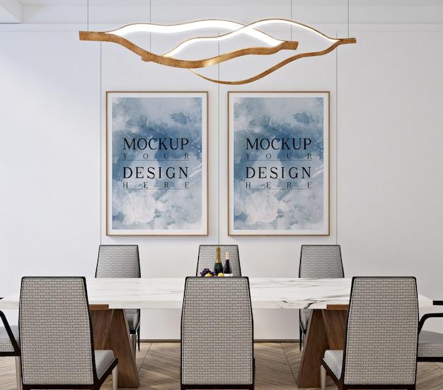 Modernes klassisches esszimmerdesign mit modellrahmenfoto