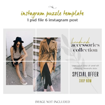 Modernes, kreatives und stilvolles instagram-puzzle, raster, collage-vorlage