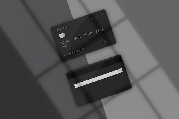 Modernes kreditkartenmodell mit schattenüberlagerung