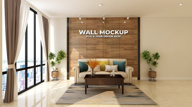 Modernes lobby-wartezimmer-wandlogo-modell