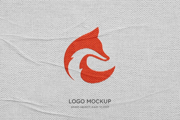 Modernes logomodell auf leinenhintergrund