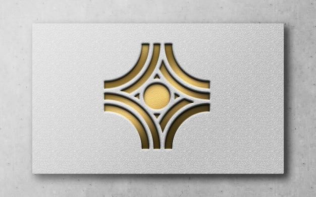 Modernes luxus-logo 3d auf einer karte