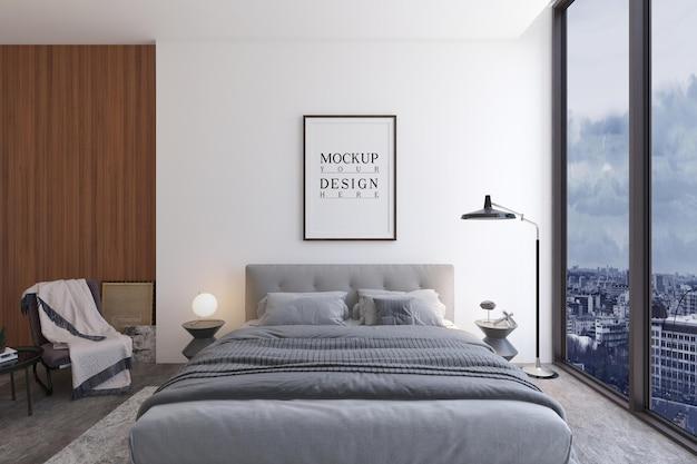 Modernes luxusschlafzimmerdesign mit modelldesignplakat