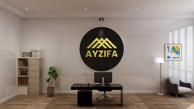 Modernes minimalistisches innendesign des arbeitsplatzes mit wandmodell des 3d-markenlogos