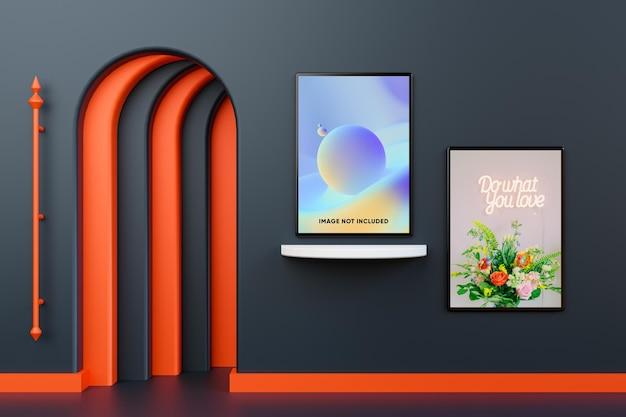 Modernes poster-mockup isoliert an der wand