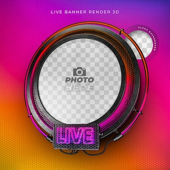 Modernes realistisches 3d-live-symbol mit neon und gitter in instagram-farben