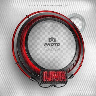 Modernes realistisches 3d-symbol der live 3d mit neon und rotem und schwarzem gitter