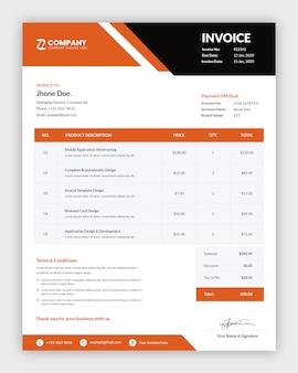 Modernes rechnungsvorlagendesign für unternehmensgeschäfte