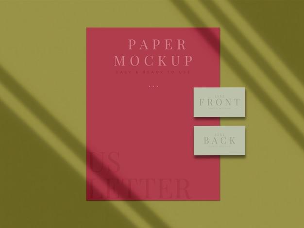 Modernes schreibwaren-mock-up-design für branding, corporate identity, präsentationen von grafikdesignern mit schattenüberlagerung