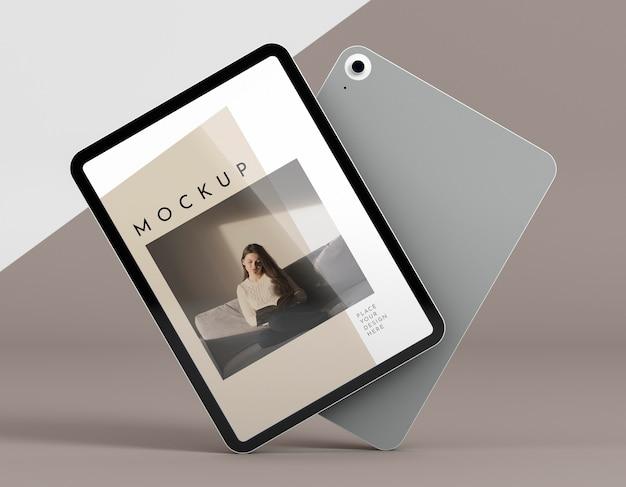 Modernes tablet mit vorderansicht und bildschirmmodell