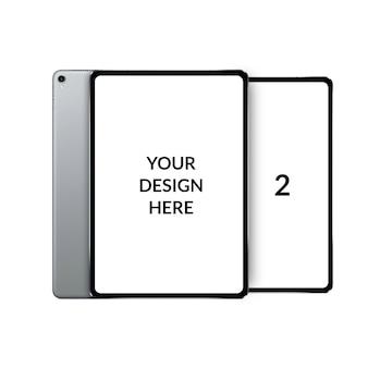 Modernes tablet-modell mit zwei bildschirmen