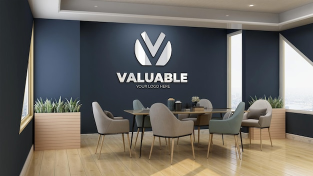 Modernes und luxuriöses besprechungszimmer blaue wand logo mockup