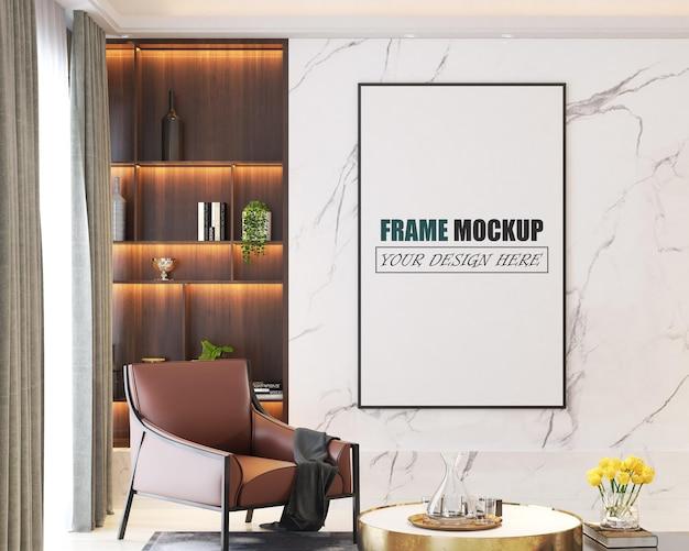 Modernes wohnzimmer-design-rahmenmodell