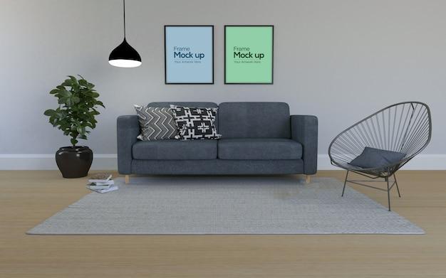 Modernes wohnzimmer im innenbereich mit sofa und rahmenmodell