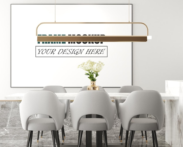 Modernes wohnzimmer mit bilderrahmen als highlight-rahmenmodell