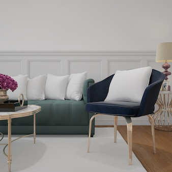 Modernes wohnzimmer mit sofa und modellkissen