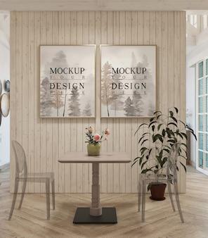 Modernes wohnzimmerdesign mit modellrahmen
