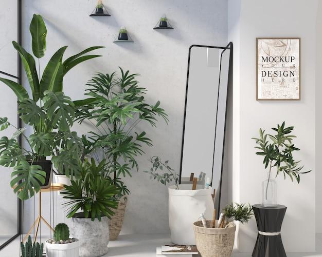 Modernes zeitgenössisches wohnzimmerdesign mit modellplakat und pflanzgefäß