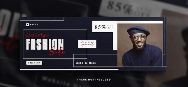 Modeverkauf facebook-cover-banner-vorlage mit einem sauberen modell