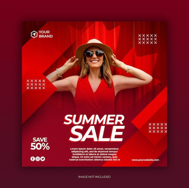 Modeverkauf social media post und web-banner-vorlage mit sommerkonzept