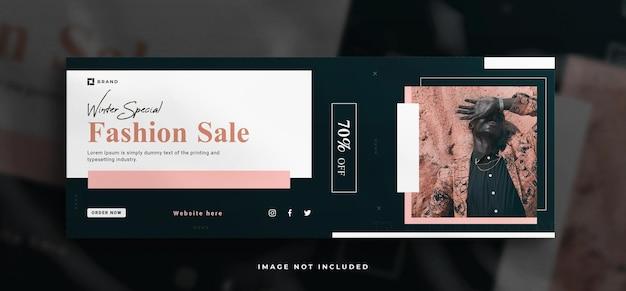 Modeverkaufs-social-media-banner und facebook-cover-banner-vorlage mit einem sauberen modell
