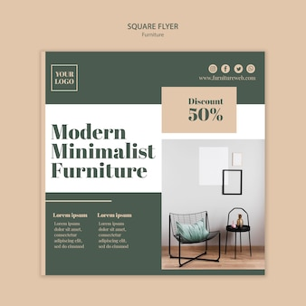 Möbelkonzept quadratische flyer-vorlage