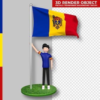Moldawien-flagge mit niedlichen menschen-cartoon-figur. tag der unabhängigkeit. 3d-rendering.
