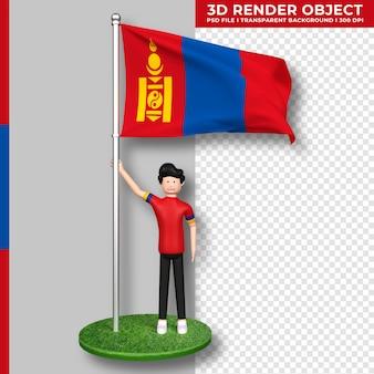 Mongolei-flagge mit niedlichen menschen-cartoon-figur. 3d-rendering.