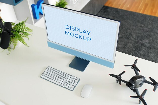 Monitor display mockup all-in-one-pc