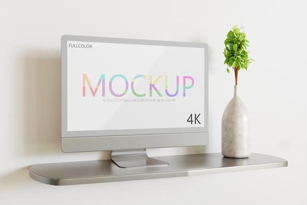 Monitormodell mit anpassbarer seitenansicht in hautfarbe