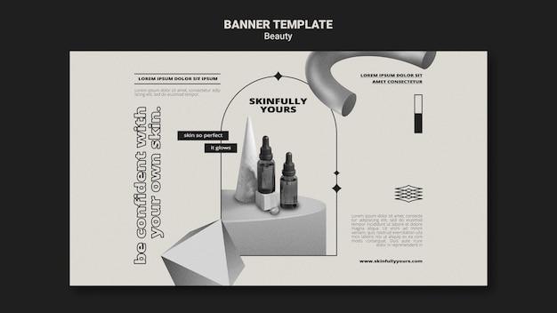 Monochromatische hautpflege-banner-vorlage