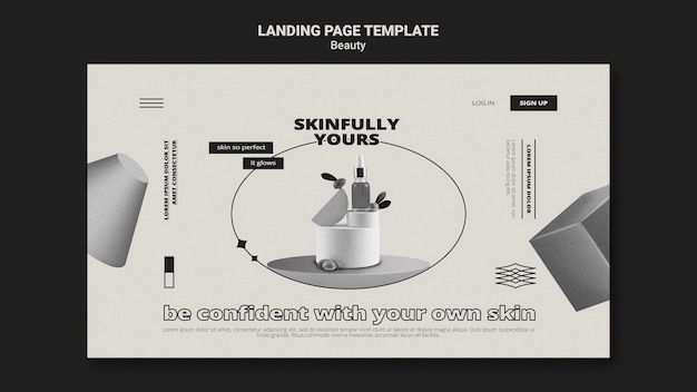 Monochromatische hautpflege-landingpage