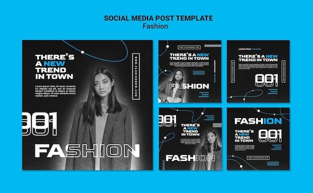 Monochromatische instagram-posts-kollektion für modetrends mit frau