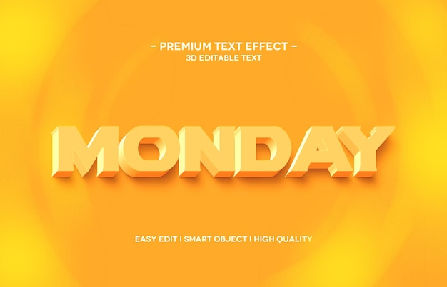 Montag 3d texteffektschablonenentwurf