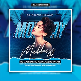Montag madness dj party flyer vorlage